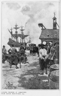 This early 20th century drawing protrays the arrival of the first Africans as enslaved people in America in 1619. (Library of Congress image)