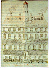 This 1702 sketch is the earliest known image of the Wren Building. Founded in 1693, W&M has been exploring its involvement in slavery and segregation through the Lemon Project (Special Collections Research Center image).